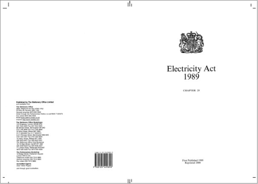 UK Electricity Act 1989